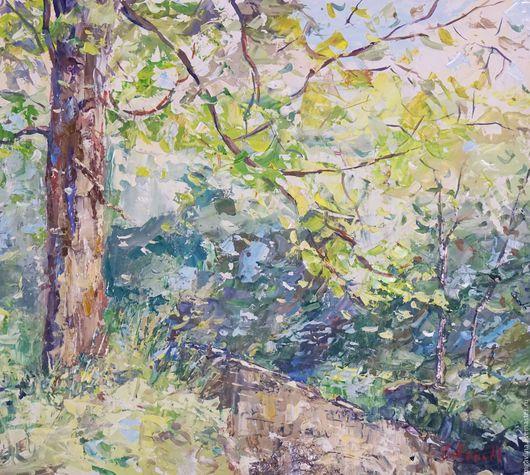 Пейзаж ручной работы. Ярмарка Мастеров - ручная работа. Купить Утренний лес. Handmade. Комбинированный, картина для интерьера, река, утро
