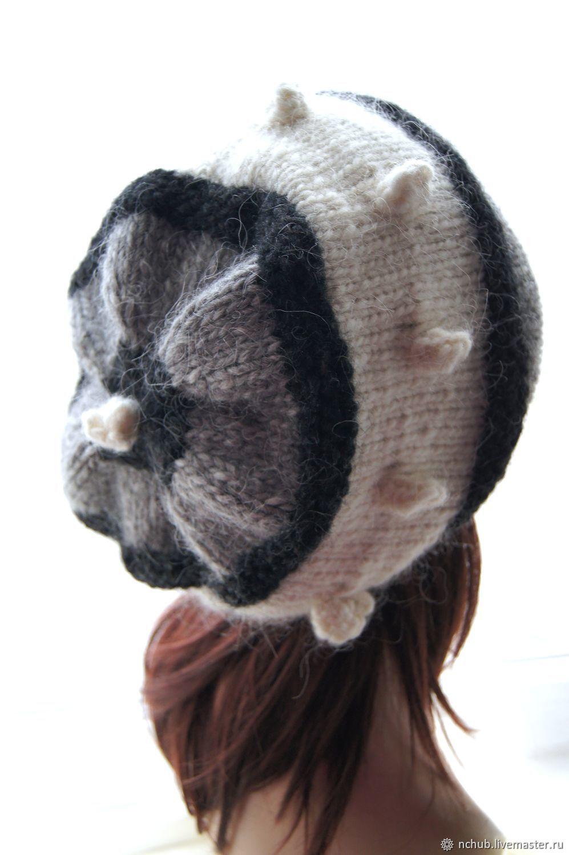 8958331f62380 ... Icelandic · Berets handmade. Order Takes boho knitted Gray-black-and-white  bulk of ...