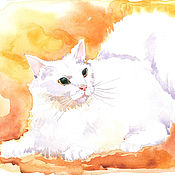 Pictures handmade. Livemaster - original item Watercolor painting White and fluffy. Handmade.