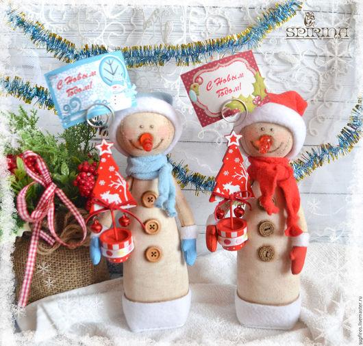 Новый год 2017 ручной работы. Ярмарка Мастеров - ручная работа. Купить Cнеговички. Handmade. Разноцветный, снеговик, новогодний сувенир, флис