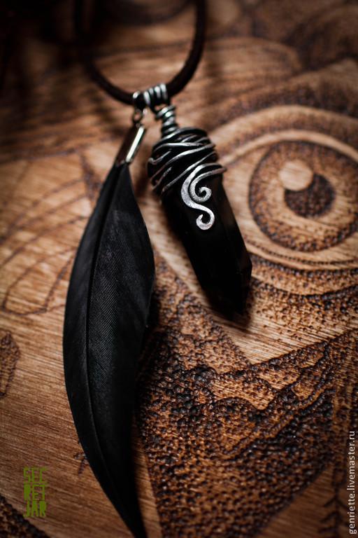 """Кулоны, подвески ручной работы. Ярмарка Мастеров - ручная работа. Купить Подвеска """"Witches night"""". Handmade. Черный, кристалл, перо"""