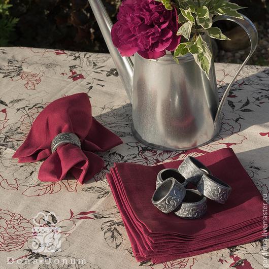 Текстиль, ковры ручной работы. Ярмарка Мастеров - ручная работа. Купить Капля вина. Handmade. Бордовый, скатерть, салфетки с цветами