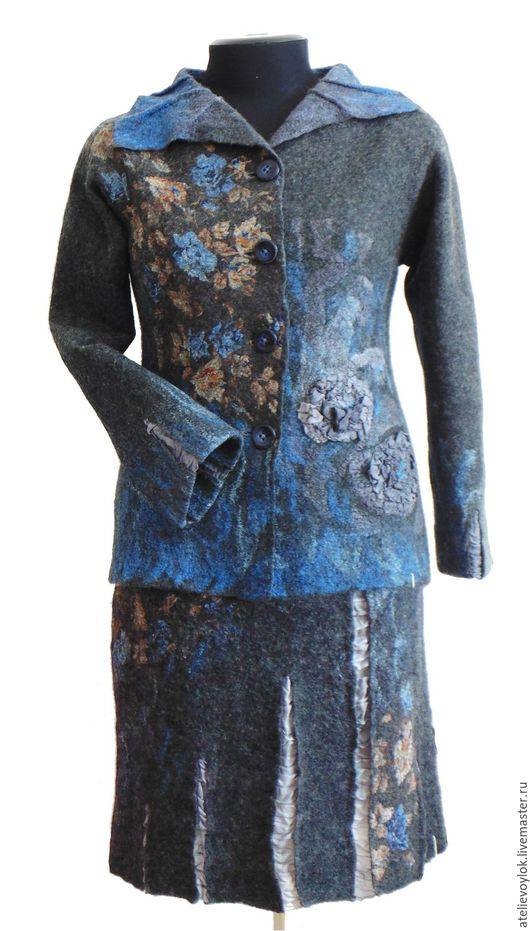 """Костюмы ручной работы. Ярмарка Мастеров - ручная работа. Купить Костюм """"Синяя ночь"""", из мериносовой шерсти.. Handmade. Темно-серый"""
