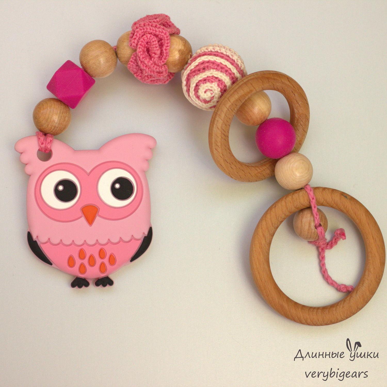 Грызунок Сова розовая из силикона с можжевельником и буком, Игрушки, Пенза, Фото №1