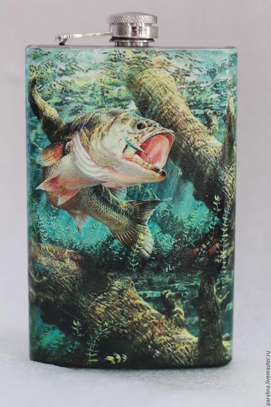 """Подарки для мужчин, ручной работы. Ярмарка Мастеров - ручная работа. Купить Фляжка """"Рыба моей мечты"""". Handmade. Комбинированный, рыбалка"""