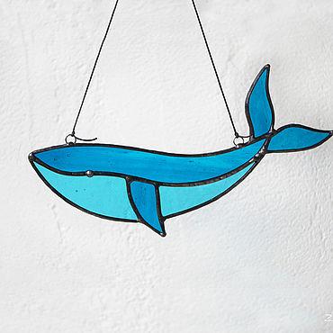 Для дома и интерьера ручной работы. Ярмарка Мастеров - ручная работа Витраж Синий кит. Handmade.