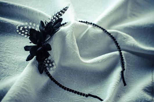 Диадемы, обручи ручной работы. Ярмарка Мастеров - ручная работа. Купить Вечерний черный ободок. Handmade. Черный, Кристаллы swarovski