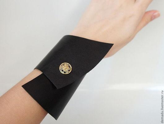 """Браслеты ручной работы. Ярмарка Мастеров - ручная работа. Купить Браслет из кожи """"АрДеко"""". Handmade. Черный, черный браслет"""