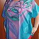 """Блузки ручной работы. Ярмарка Мастеров - ручная работа. Купить Блуза """"Цветы""""из натурального шелка. Handmade. Синий, профессиональный"""