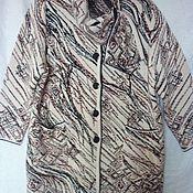 Одежда ручной работы. Ярмарка Мастеров - ручная работа Полупальто вязаное Абстракция большой размер. Handmade.