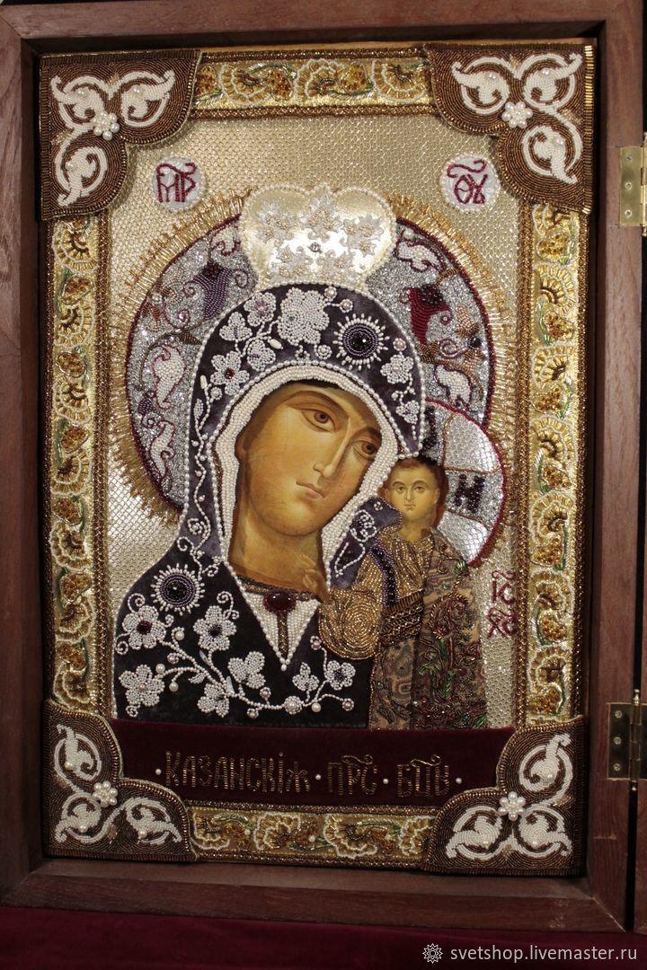 Икона на доске с левкасом в киоте со стеклом, с вышитым окладом, Иконы, Мытищи,  Фото №1