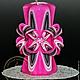 Свеча резная ручной работы Дюймовочка. Цветовая коллекция `Розовый фламинго`.