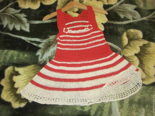 Одежда для девочек, ручной работы. Ярмарка Мастеров - ручная работа. Купить Красный сарафанчик на девочку.. Handmade. Ярко-красный