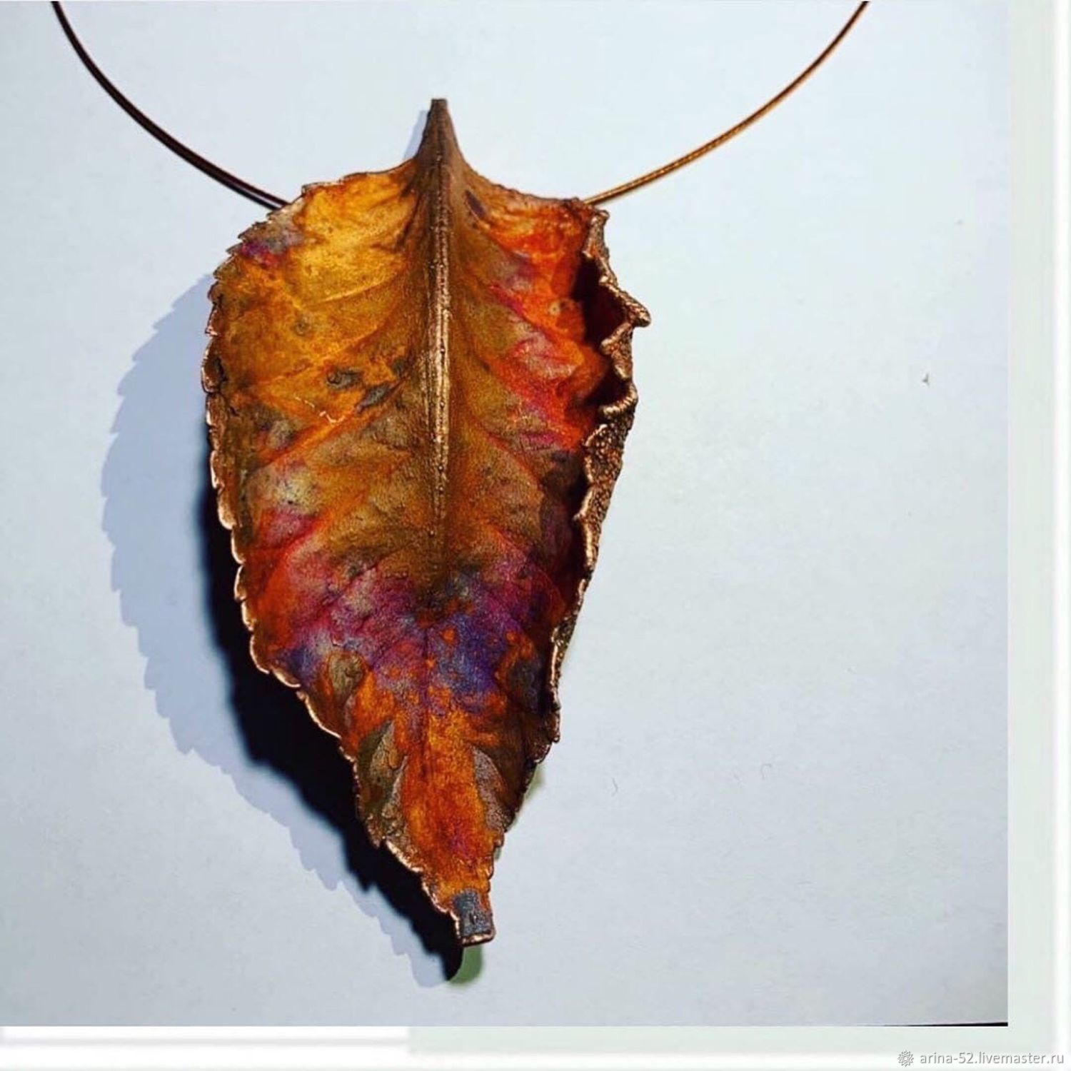 Pendant from a real leaf ' volcano Eruption», Pendants, Dubna,  Фото №1