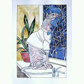 Картины и панно ручной работы. Ярмарка Мастеров - ручная работа Сфинкс у окна. Графика, акварель 20 х 30 см. Handmade.