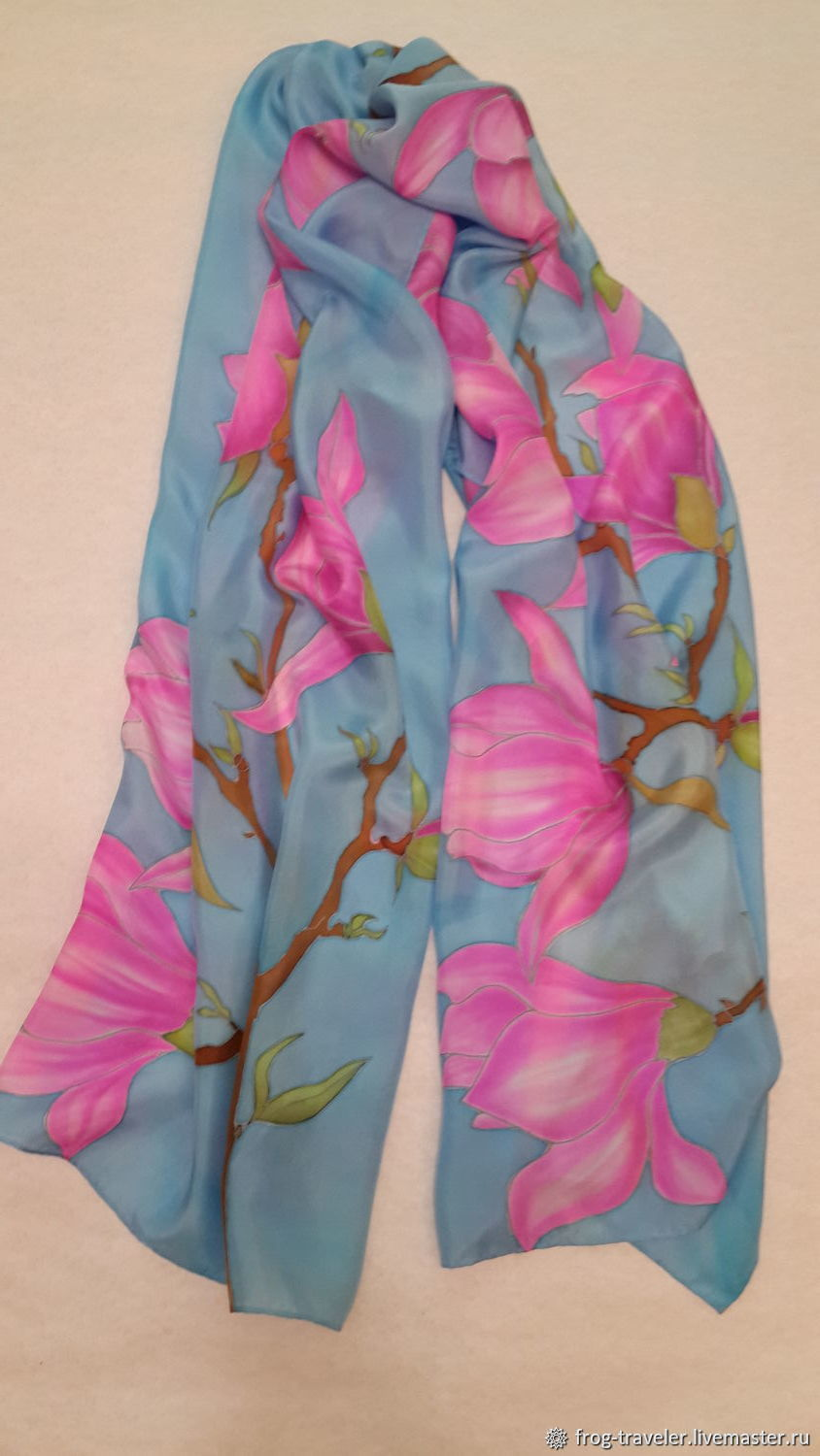 Batik stole Blooming Magnolia, Wraps, Moscow,  Фото №1