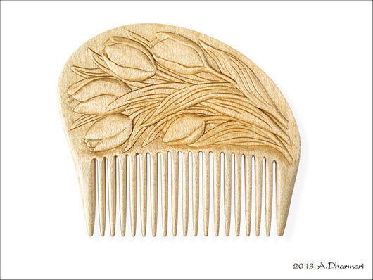 """Гребни, расчески ручной работы. Ярмарка Мастеров - ручная работа. Купить Гребень для волос деревянный """"Lale"""". Handmade. Желтый"""