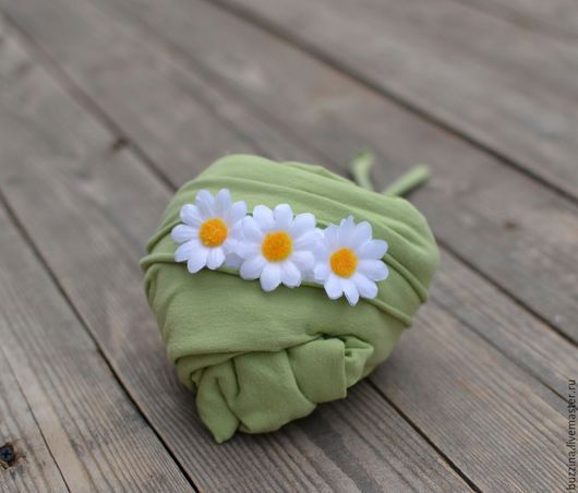 Для новорожденных, ручной работы. Ярмарка Мастеров - ручная работа. Купить Повязка на голову с Ромашками + стрейчевая обмотка для фотосессии. Handmade.