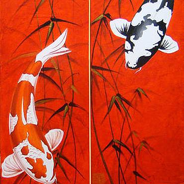 Картины и панно ручной работы. Ярмарка Мастеров - ручная работа Японские карпы Кои. Handmade.