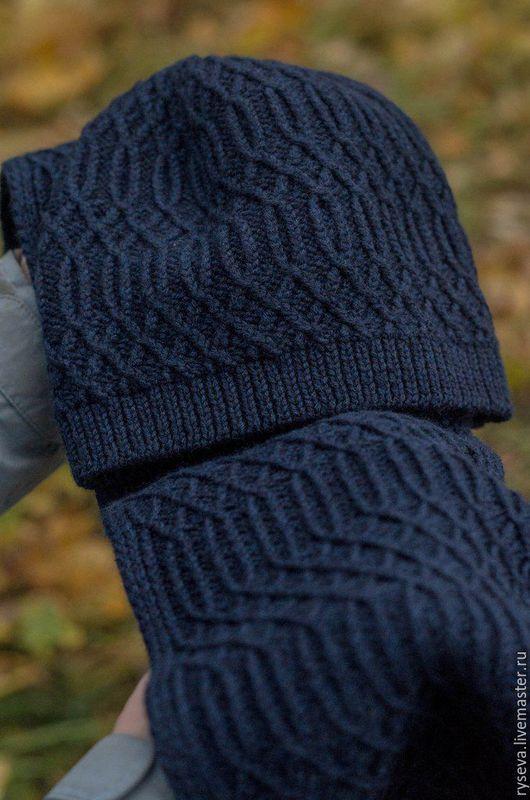 """Комплекты аксессуаров ручной работы. Ярмарка Мастеров - ручная работа. Купить Комплект мужской """"The deep blue sea"""" шарф и шапка. Handmade."""