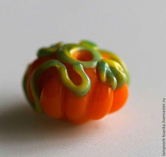 """Для украшений ручной работы. Ярмарка Мастеров - ручная работа. Купить Бусина для бижутерии """"Солнечная тыковка"""". Handmade. Оранжевый"""