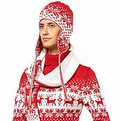 """Аксессуары ручной работы. Ярмарка Мастеров - ручная работа Комплект вязаный """"Норвежские олени"""" красный (шапка, шарф, варежки). Handmade."""