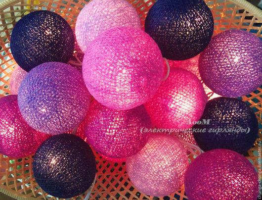"""Освещение ручной работы. Ярмарка Мастеров - ручная работа. Купить """"Фиолетовый мистик"""", светящаяся гирлянда из хлопковых шаров. Handmade."""