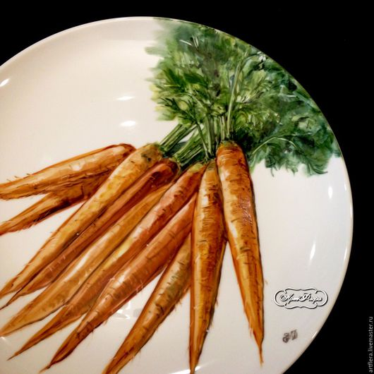 Тарелки ручной работы. Ярмарка Мастеров - ручная работа. Купить Роспись фарфора Большое блюдо Морковь. Handmade. Роспись фарфора