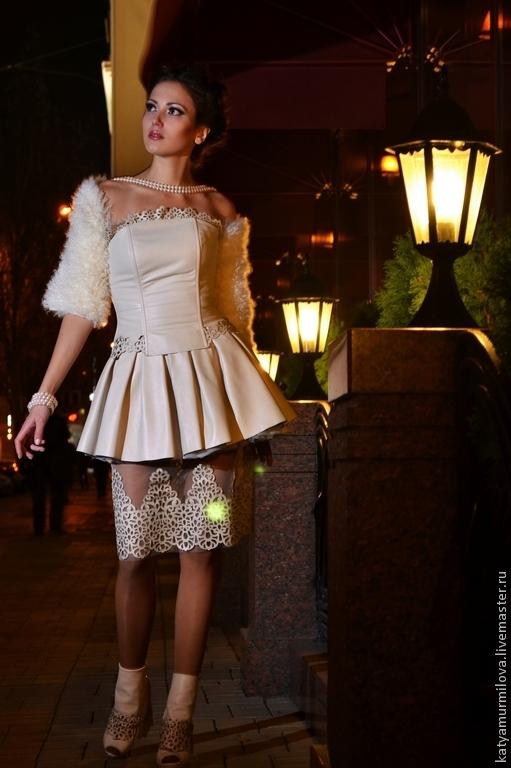 Платья ручной работы. Ярмарка Мастеров - ручная работа. Купить Свадебный наряд из натуральной кожи и меха. Handmade. Бежевый, жемчуг