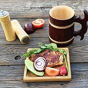 Посуда handmade. Livemaster - original item Wooden serving plate solid oak. Handmade.