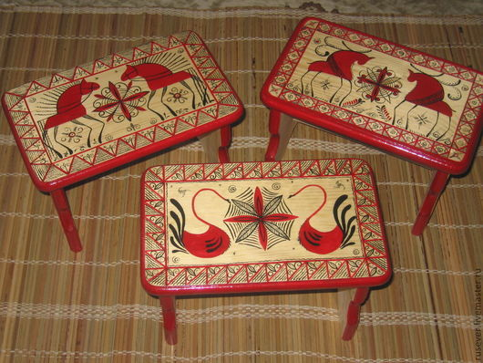 Domestic Items handmade. Livemaster - handmade. Buy Bench with Mezen painting.Mezen painting, russian style, country house