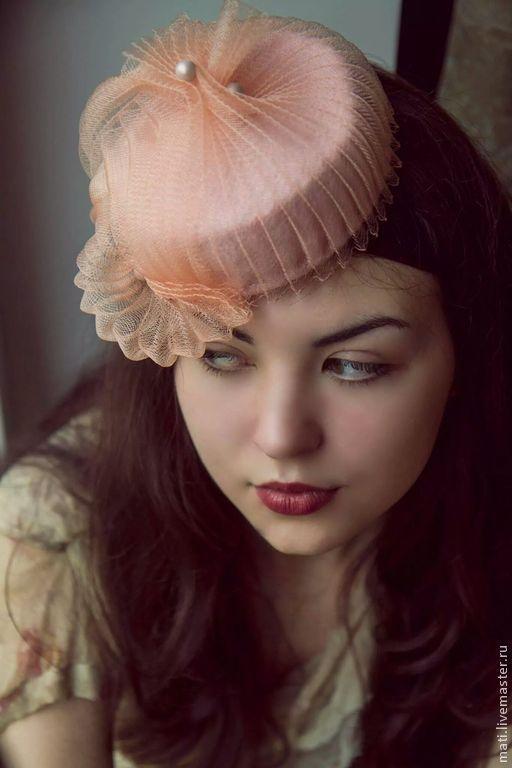 """Шляпы ручной работы. Ярмарка Мастеров - ручная работа. Купить шляпка """"Зефирка"""". Handmade. Бледно-розовый, бусины"""