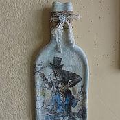 """Картины и панно ручной работы. Ярмарка Мастеров - ручная работа Бутылка плоская подарочная """"Все для тебя..."""". Handmade."""
