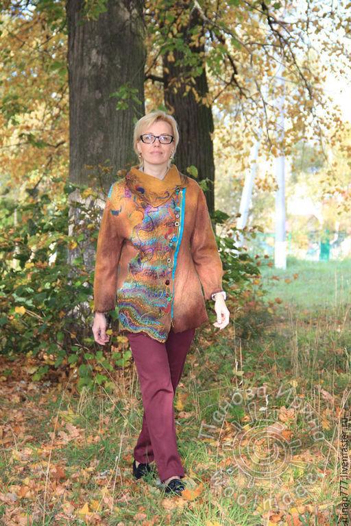 """Верхняя одежда ручной работы. Ярмарка Мастеров - ручная работа. Купить тренч """"Янтарь"""". Handmade. Коричневый, пальто, валяная одежда"""
