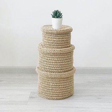 Для дома и интерьера ручной работы. Ярмарка Мастеров - ручная работа Комплект из трех корзин. Handmade.