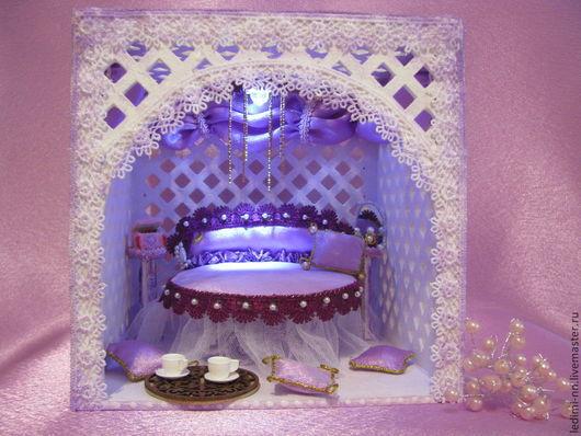 Кукольный домик с подсветкой, беседка с освещением, домик с подсветкой, миниатюра с подсветкой, румбокс, домик, кукольная миниатюра, миниатюра, кукольный дом, подарок, подарок для девочки эксклюзивный