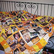 Элементы интерьера ручной работы. Ярмарка Мастеров - ручная работа Лоскутное одеяло с принтами и поздравлением. Handmade.