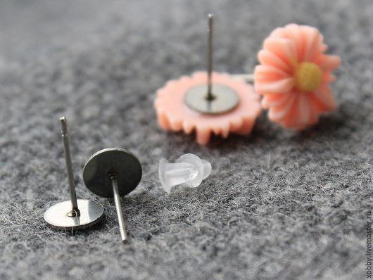 Основа для сережек гвоздиков пуссеты  Основа для гвоздиков выполнены из хирургической стали или, как ее называют еще -  нержавейка.
