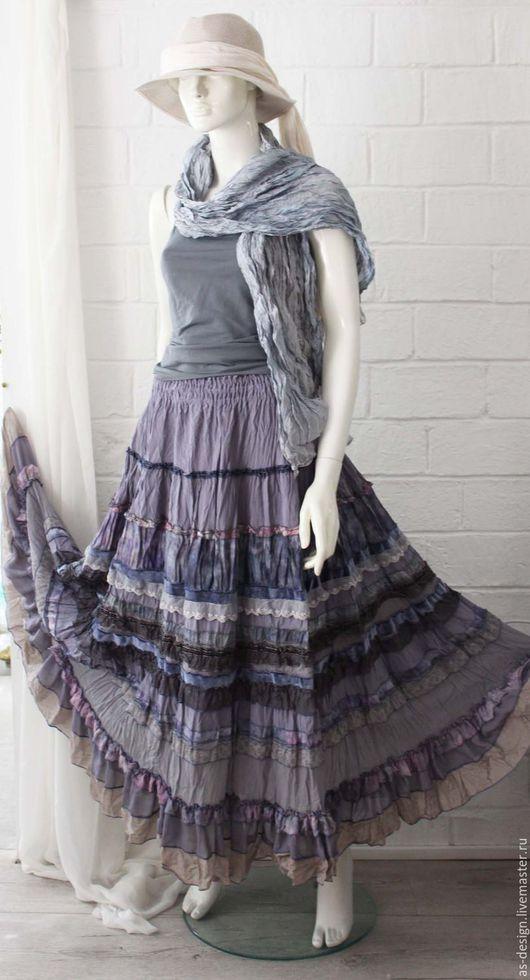 Юбки ручной работы. Ярмарка Мастеров - ручная работа. Купить Серо-сиреневая шелковая ,длинная юбка в стиле бохо-шик.. Handmade.