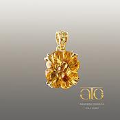 Украшения handmade. Livemaster - original item Gold pendant with carved citrine 14.5 Carat and CZ. Five hundred eighty five. Handmade.