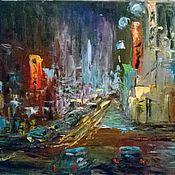 Картины и панно ручной работы. Ярмарка Мастеров - ручная работа Ночной город. Handmade.