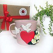 Посуда handmade. Livemaster - original item Mug with heart, roses and doves made of polymer clay. Handmade.