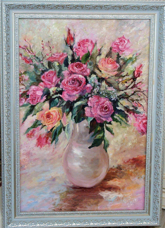 Розовый букет в вазе, Картины, Нижний Новгород,  Фото №1