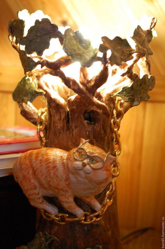 """Освещение ручной работы. Ярмарка Мастеров - ручная работа. Купить """"Сказки учёного кота"""".Светильник-ночник керамический.. Handmade. Светильник"""