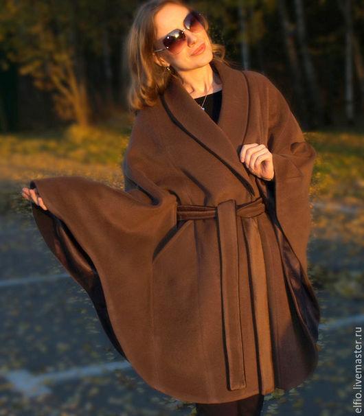 Верхняя одежда ручной работы. Ярмарка Мастеров - ручная работа. Купить Пальто пончо из шерсти с кашемиром. Handmade. Салатовый