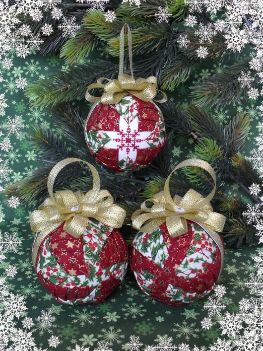 """Новый год 2017 ручной работы. Ярмарка Мастеров - ручная работа. Купить Новогодние шарики в технике """"Артишок"""" 3штуки. Handmade."""