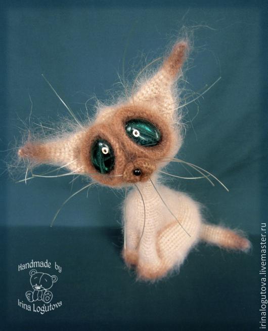 Игрушки животные, ручной работы. Ярмарка Мастеров - ручная работа. Купить Сиамский кот. Handmade. Бежевый, интерьерная игрушка, леска