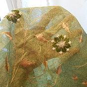 Материалы для творчества ручной работы. Ярмарка Мастеров - ручная работа Ткань. Индия. Сари. Отрез зеленой ткани с вышивкой.. Handmade.
