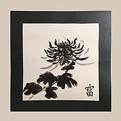 """Картины и панно ручной работы. Ярмарка Мастеров - ручная работа Картина суми-э """"Хризантема"""". Handmade."""