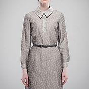 Одежда ручной работы. Ярмарка Мастеров - ручная работа Платье - рубашка серое с цветами из льна. Handmade.